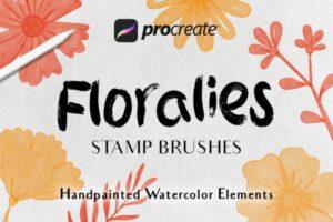 彩色植物花卉Procreate应用绘画笔刷 Floralies – Procreat Brushes