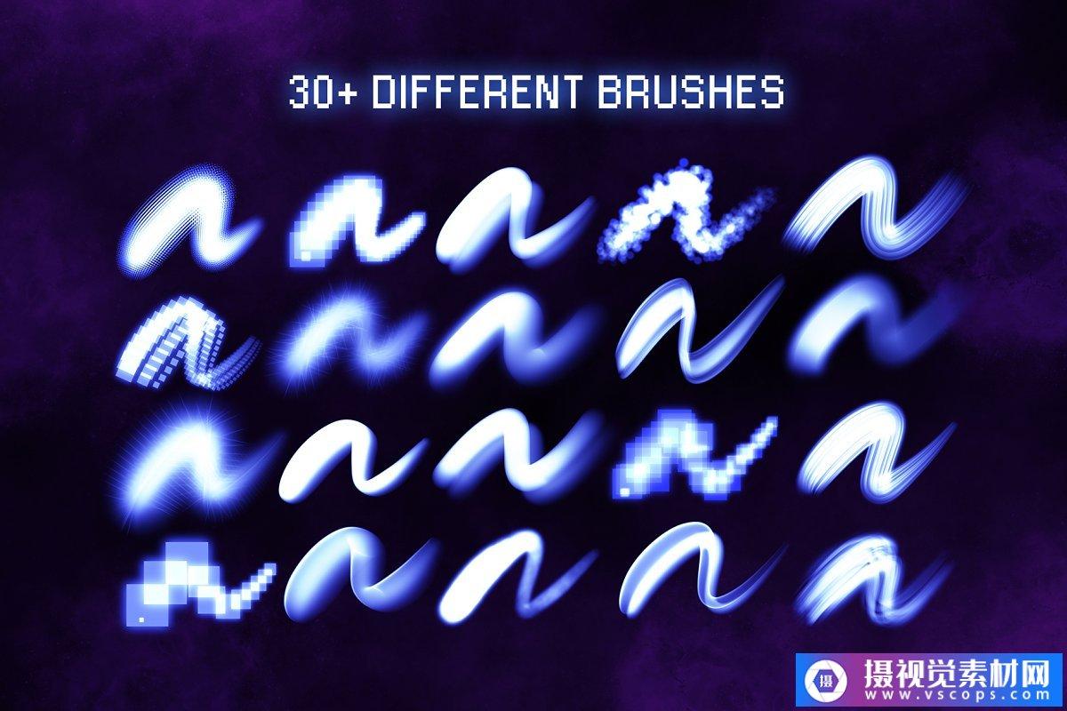 30多个Procreate发光刷笔触画笔插图1
