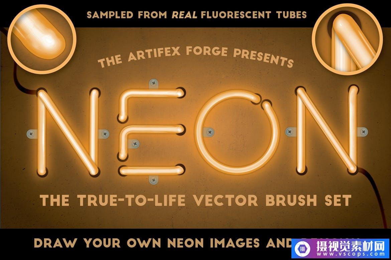 Adobe Illustrator霓虹灯-逼真的画笔套装插图4