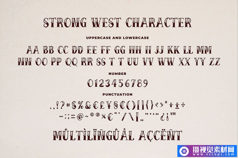 复古纹身风格装饰设计英文衬线字体 Strong West – Retro Tattoo Font插图1