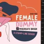 女性角色线条艺术样式Procreate笔刷