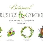 创意植物画笔笔刷 Botanical Brushes & Symbols
