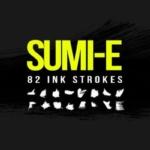 毛笔墨笔干拖笔刷效果 82 Sumi-E Ink Strokes
