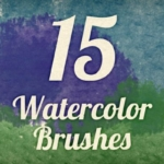 水彩边缘纹理效果的笔刷套装 Watercolor Strokes Brush Pack 4