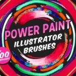 有力量感觉的 illustrator 手绘笔刷 Power Paint Illustrator Brushes
