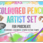 Procreate逼真的彩色铅笔笔刷For iPad [brushset]