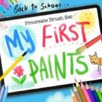 Procreat应用儿童主题手绘笔刷 My First Paints Procreate Brushes