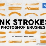 45支墨水水墨笔触Photoshop笔刷