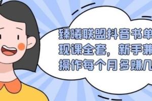 臻曦联盟抖音书单变现课全套,新手兼职操作每个月多赚几千